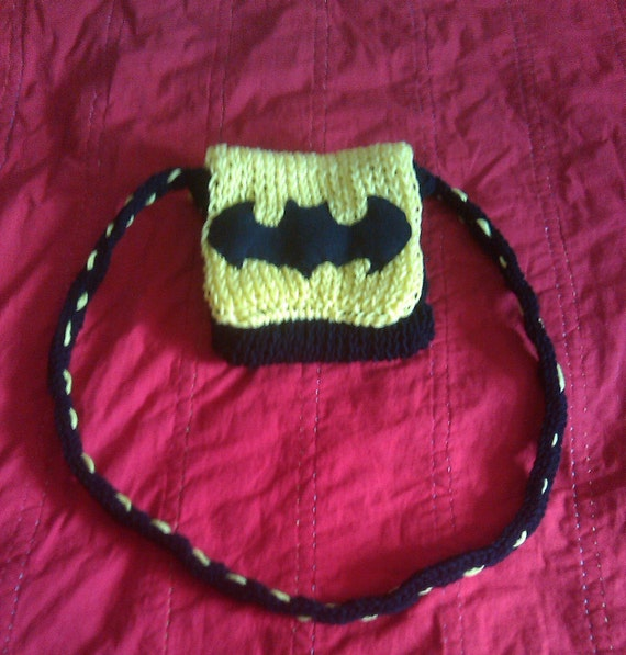 Batman knit purse