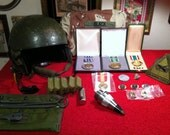 Large Lot of Military Medals, Supplies & Tank Gunner Helmet - Operation Desert Storm