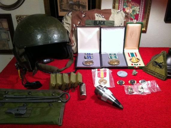 Large Lot of Military Medals, Supplies & Tank Gunner Helmet - Operation Desert Storm
