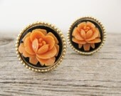 vintage 1940s celluloid earrings. a BLUSHING SALMON PINK.