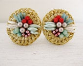 vintage straw clipon earrings. CANDY TOPPINGS