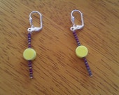 Dangly Earrings with Bright Yellow Bead
