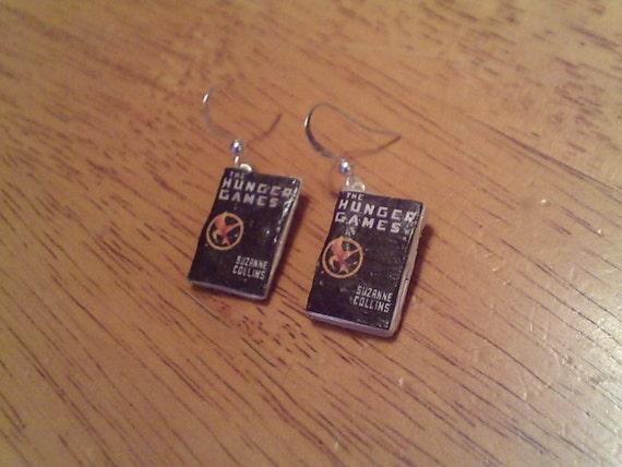 Hunger Games Mini Book Dangly Earrings