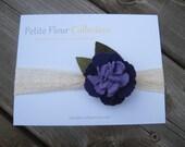 Mini Felt Carnation Headband  - Light and Dark Purple Feltwith Light and Dark Green Burlap Leaves on a Crocheted Lace Headband