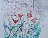 Multi Media original watercolor painting cityscape flowers and rain  9x12