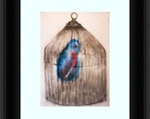 original Illustration and watercolor painting  Blue bird in a wire bird cage 12x16 Ghost Bird Free shipping
