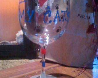 Custom order sample UofA Wildcats 12 oz wine glass