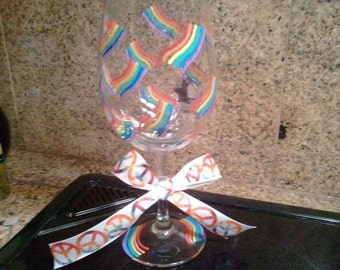 Pride Rainbow 12 oz hand painted wine glass