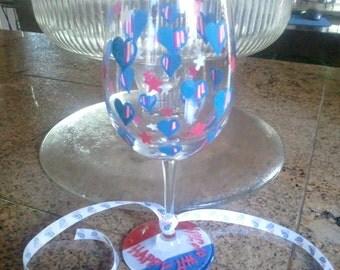 Happy 4th of July 12oz wine glass