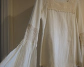 SALE was 48 / Beautiful Cream Cotton Gauze and Crochet Top with Huge Belled Sleeves