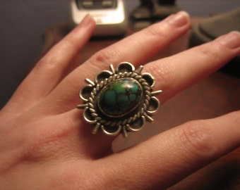 SALE Vintage Turquoise and Silver Ring Boho Hippie Native American