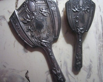 Antique Victorian or Edwardian Brush and Mirror Vanity Set Pewter Birds