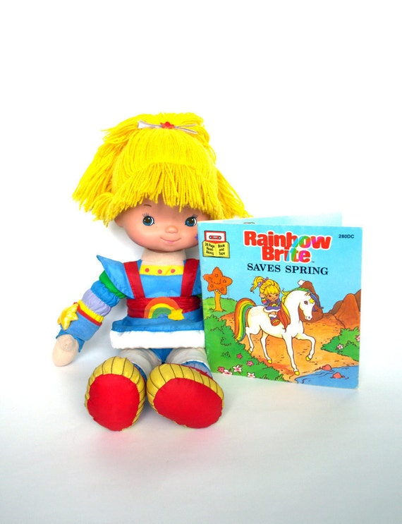 Vintage 80's Talking RAINBOW BRITE Plush Doll and Book