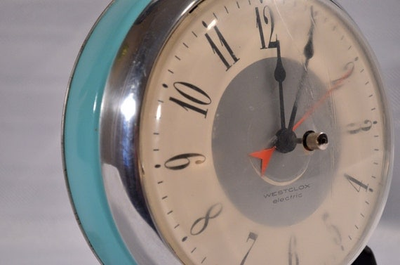 Vintage Chrome Turquoise Blue Westclox Hanging Clock