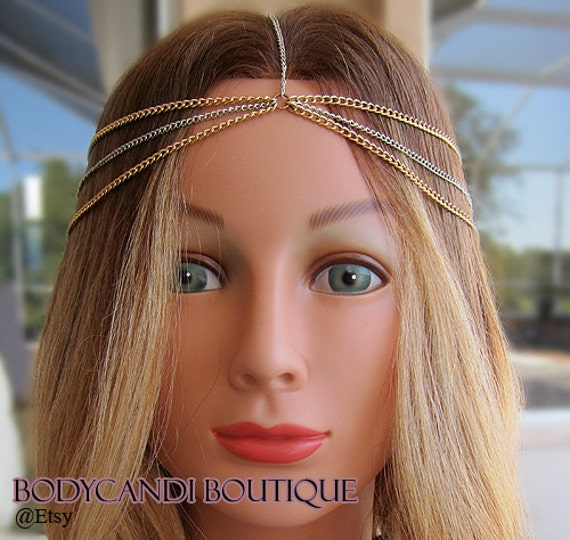 two toned rose gold/ silver hair chain. headdress, gypsy, boho, head chain, headband
