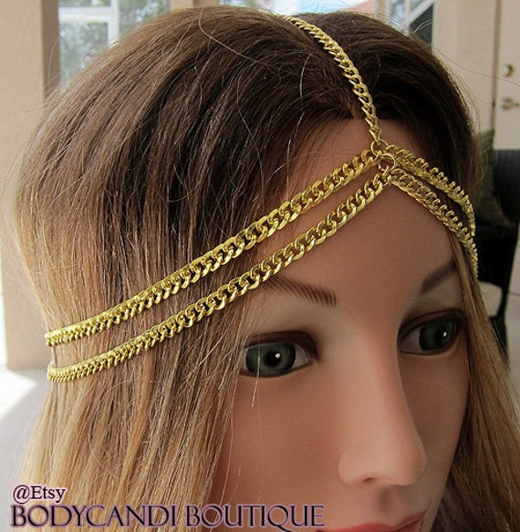 Gold 5 strand headchain, hair peice, hair chain, head dress, headband