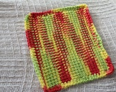 Variegated Tunisian Dishcloth - Citrus
