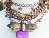 "Choker Statement Necklace Multichain Necklace Vintage Copper Pink ""Just Be(e)"""