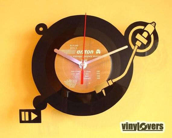 Turntable Dj Handmade Wall Clock From Vinyl Record By