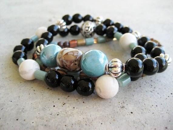 Bohemian stretch beaded bracelets, Boho beaded bracelets, handmade beaded bracelets,