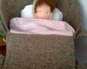 Waldorf baby doll in basket, custom order
