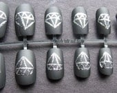 Matte/Flat Black with Silver Diamonds False Nail Set