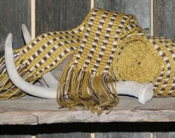 Inkle Hand Woven Sash Rendezvous Mountain Man Belt Wrap Historical Brown, Gold & White, Long Hunter Strap Primitive Handmade