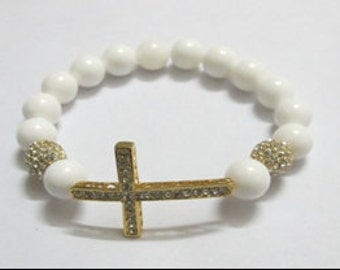 2 WEEK SALE-Beaded Cross Bracelet with White Coral