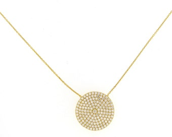 Oversized Pave Disc Necklace-Yellow Gold