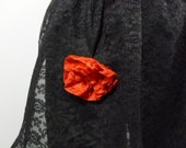 VINTAGE Tie Apron -  Black Lace with Red Lace Rose - Size Small