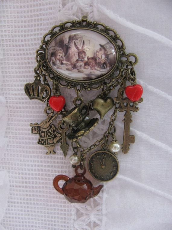alice in wonderland tea party cabochon brooch