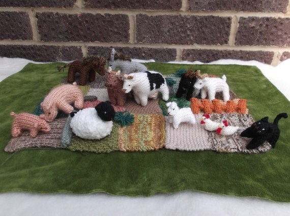items similar to knitted farm yard with animals on etsy