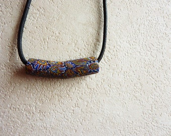 Long bead with leather necklace
