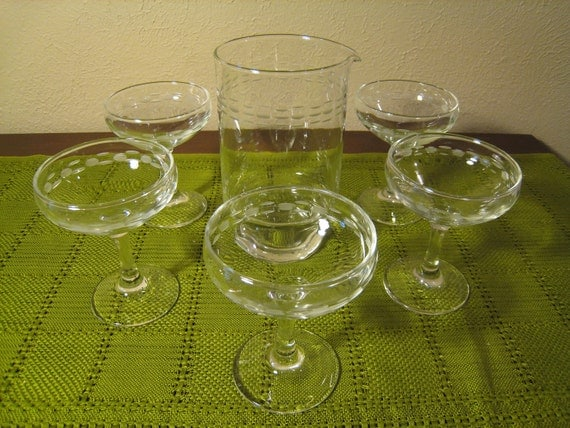 Mid Century Modern Etched Champagne Coupes with Bonus Cocktail / Martini Pitcher - Mad Men Glasses