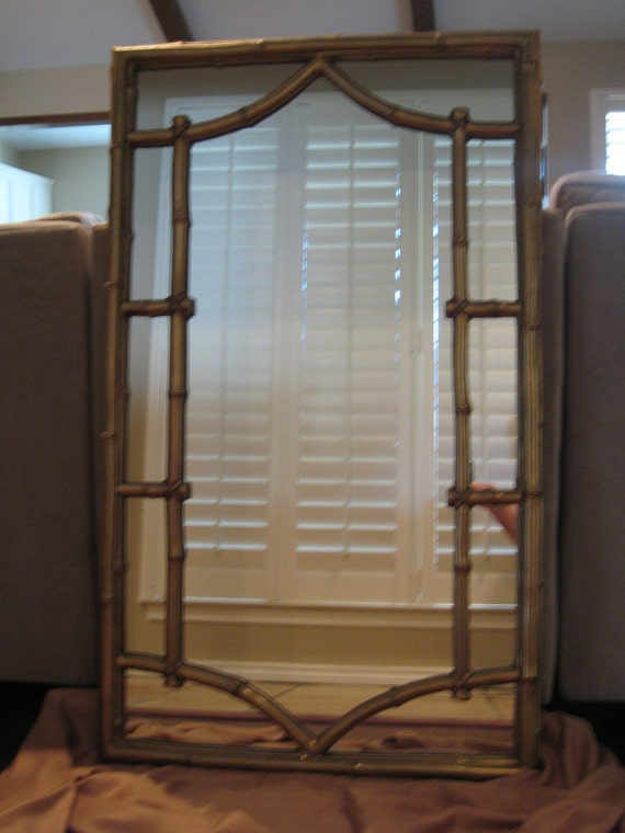 Large 44 x 26 Hollywood Regency Faux Bamboo Mirror - Chinese Chippendale - Chinoiserie Chic - Pagoda Inspired Lines