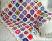 Granny Square afghan, super quality crocheted blanket, throw
