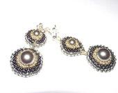Vintage style earrings, seed bead earrings, bead woven earrings, gray pearl long earrings