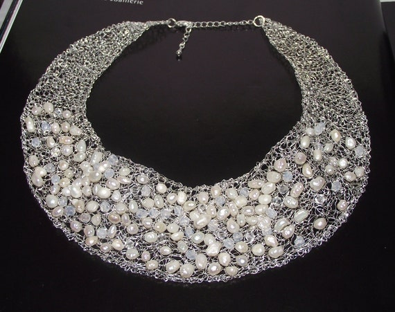 Wedding bib necklace, crochet wire bridal necklace, pearl crystal bridal necklace, wedding necklace, pearl wedding jewelry