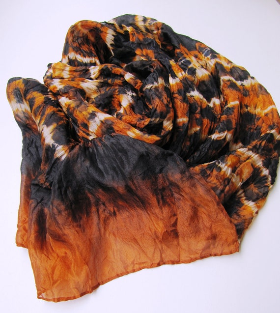 Hand dyed silk scarf using Itajime shibori technique