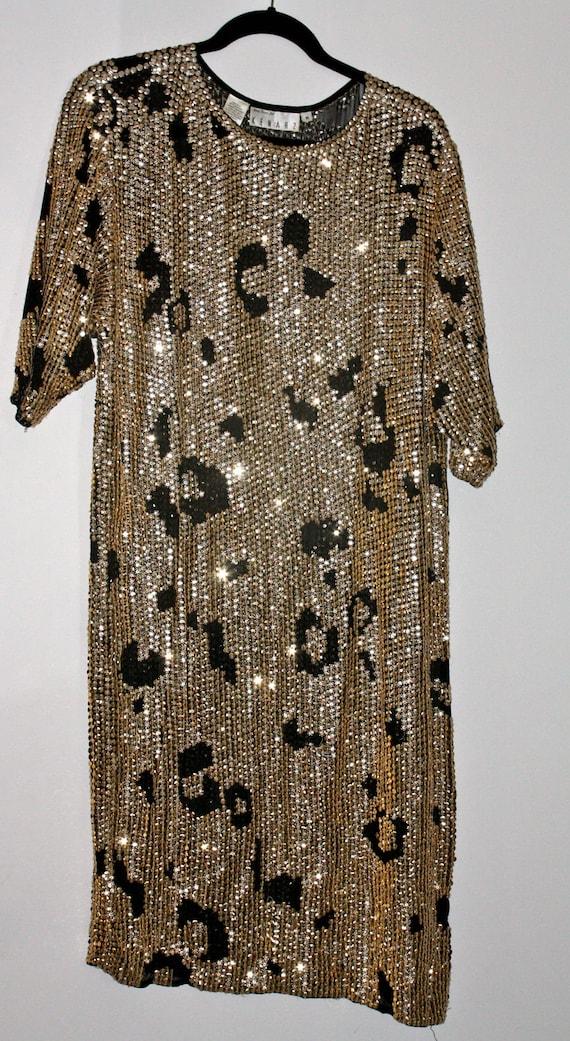 Sequined, leopard print dress