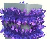 Wedding Bride Garter,Headband,Hair band,Fancy Tulle Belt,Lace, purple tulle