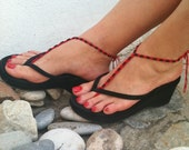 Black  beads   red macrame Foot jewelry Anklet, Nude shoes, Foot jewelry, Wedding, Victorian Lace, Sexy, Lolita, Yoga, Anklet,gothic