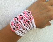 Wedding white Hand-crochet  Rope Bracelet with pink beads, beach,boho, lolita,wristband,wriststrap