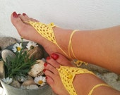 Yellow  Barefoot Sandals with vooden beads, Nude shoes, Foot jewelry, Wedding, Victorian Lace, Sexy, Lolita, Yoga, Anklet
