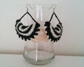 FREE SHiPPiNG Black and white  Ruffled Edge Crochet Earring,Lace Fashion