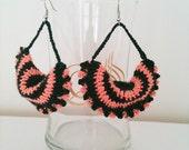 FREE SHiPPiNG Dark green and orange   Ruffled Edge Crochet Earring,Lace Fashion