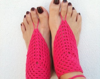 Bright pink Barefoot Sandals, Nude shoes, Foot jewelry, Wedding, Victorian Lace, Sexy, Lolita, Yoga, Anklet