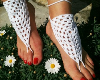 Wedding white Barefoot Sandals, Nude shoes, Foot jewelry, Wedding, Victorian Lace, Sexy, Lolita, Yoga, Anklet