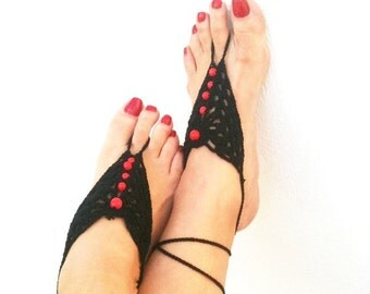 Gothic black Barefoot Sandals with red wooden beads, Nude shoes, Foot jewelry, Wedding, Victorian Lace, Sexy, Lolita, Yoga, Anklet