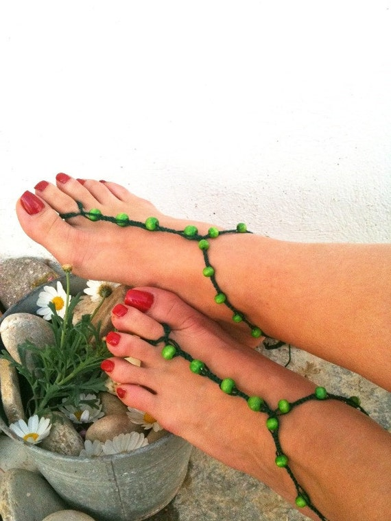 Dark green  beads  macrame Foot jewelry Anklet, Nude shoes, Foot jewelry, Wedding, Victorian Lace, Sexy, Lolita, Yoga, Anklet